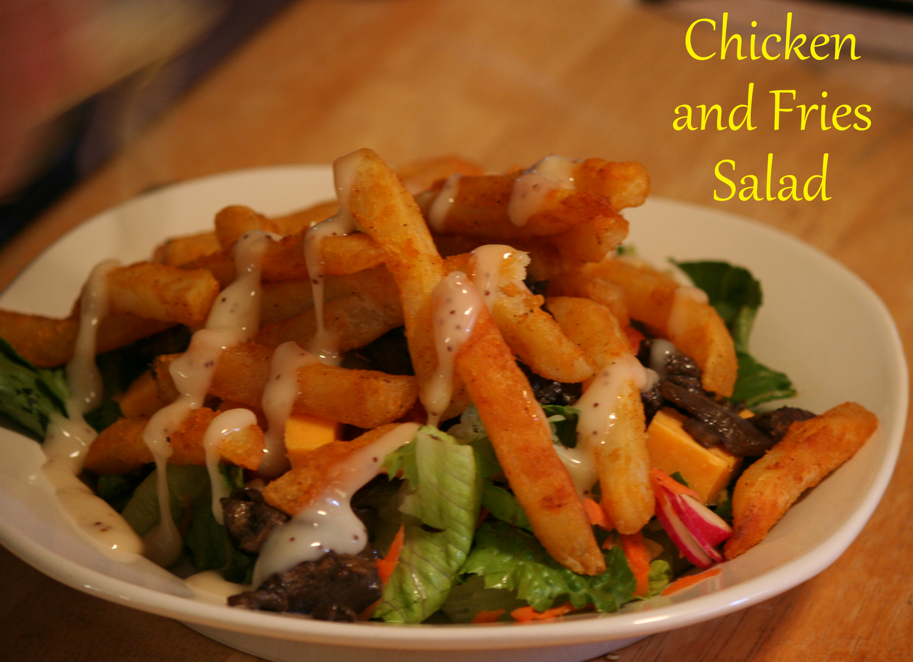 Chicken and Fries Salad ~ LifeOfJoy.me