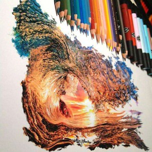 wave colored pencil drawing