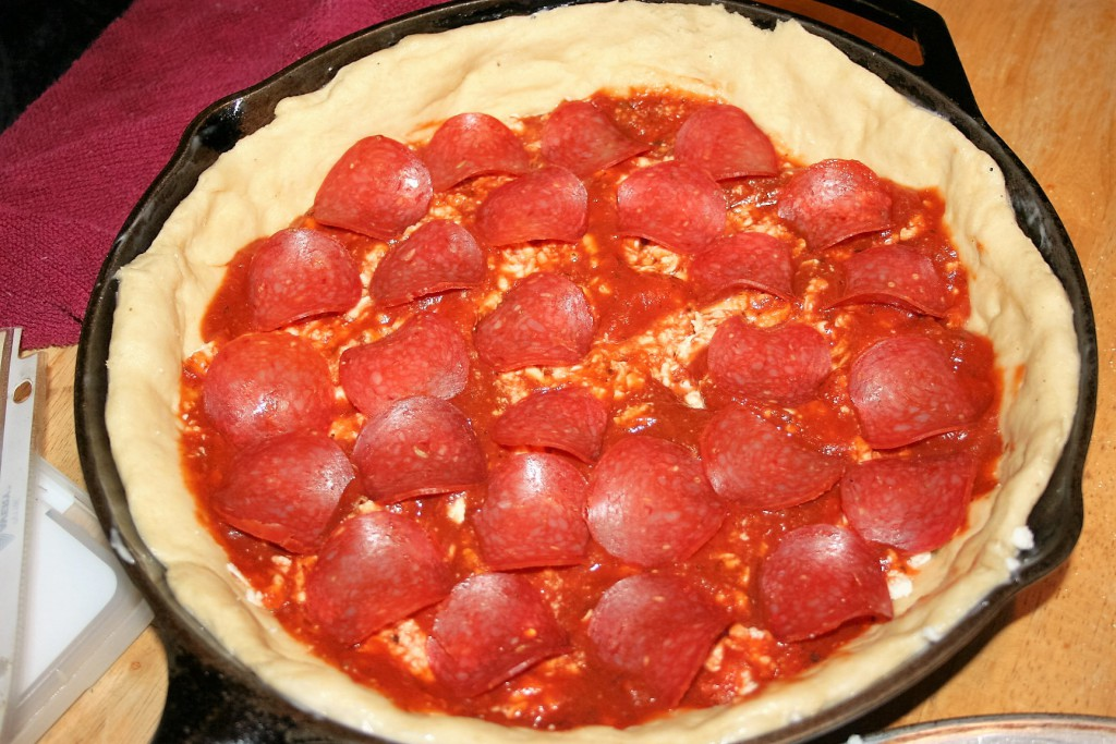 Deep dish pepperoni pizza ~ Lifeofjoy.me