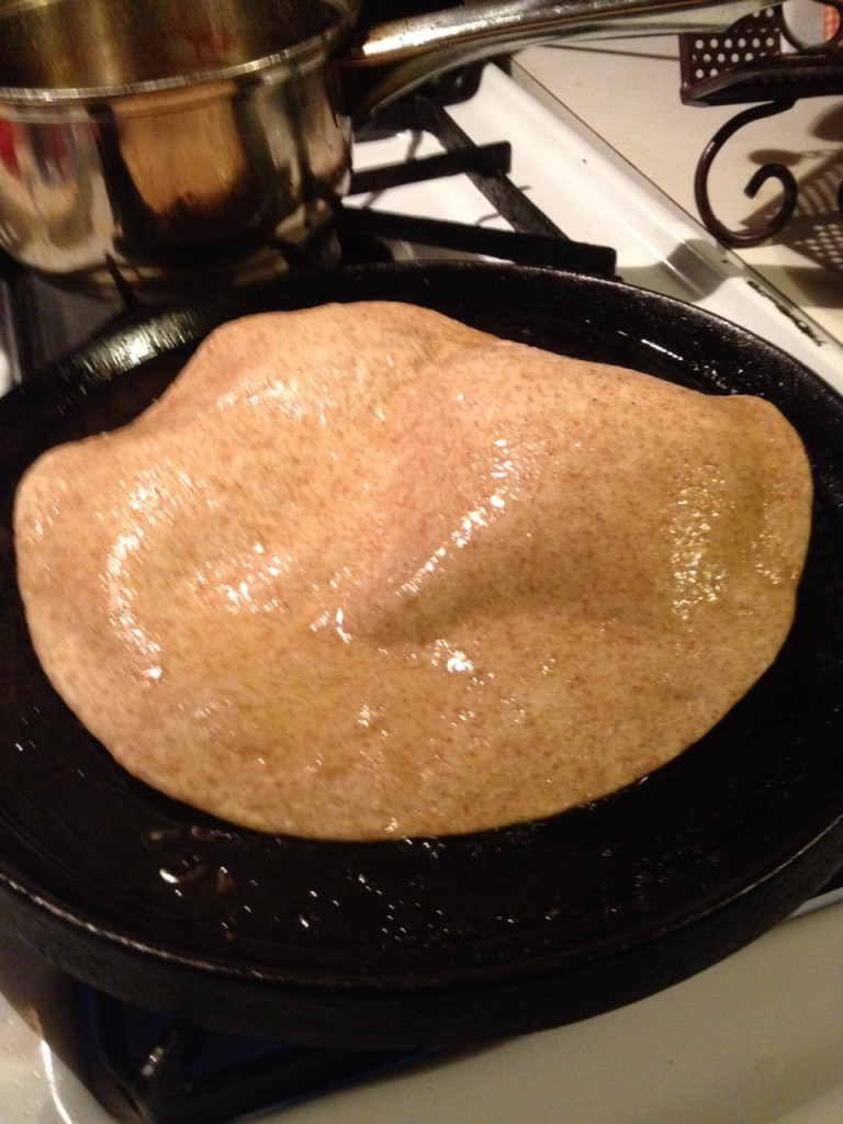Frying 2nd side of tortilla ~ lifeofjoy.me