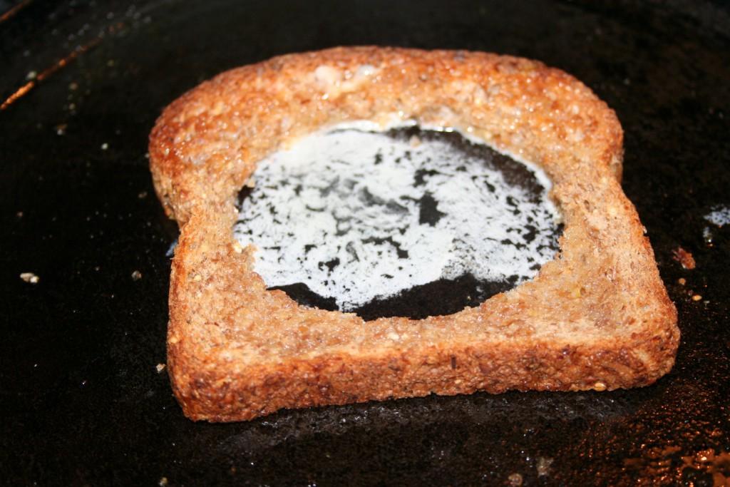 Egg Frame on pan with butter ~ lifeofjoy.me