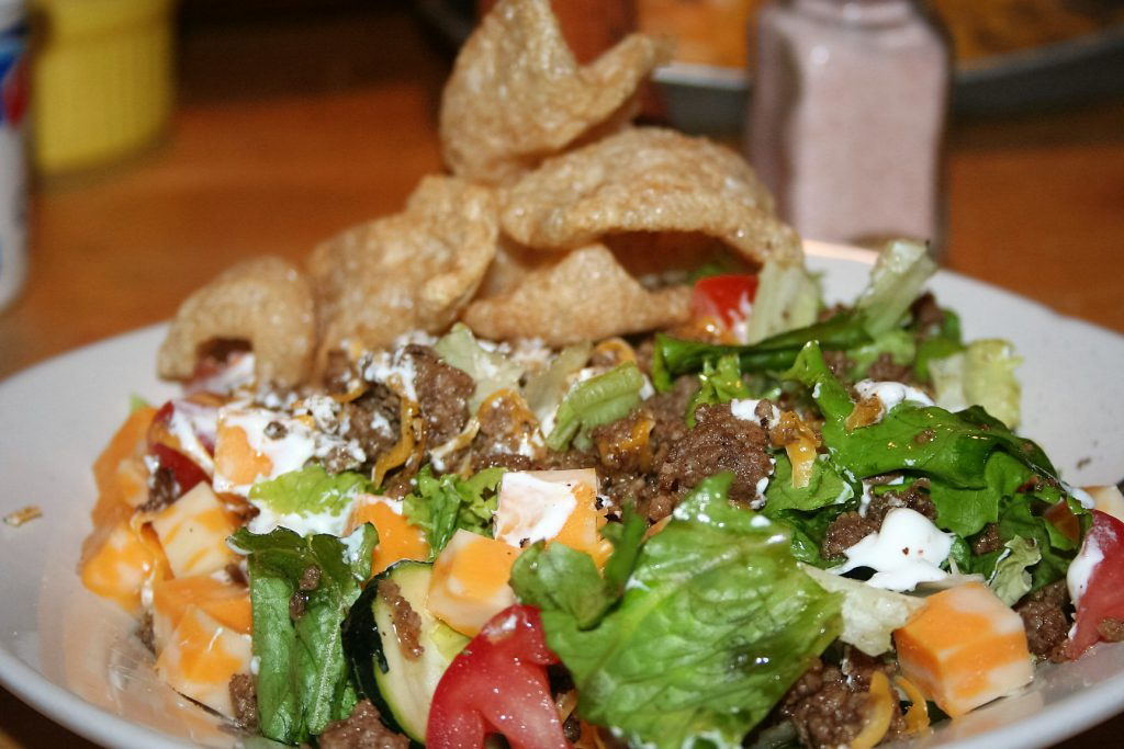 Taco Salad and Pork Rinds ~ Lifejoy.me
