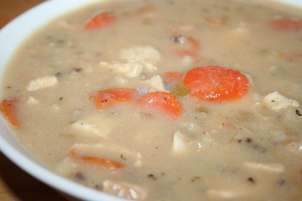 Closeup Creamy Chicken and Wild Rice Soup ~ Lifeofjoy.me