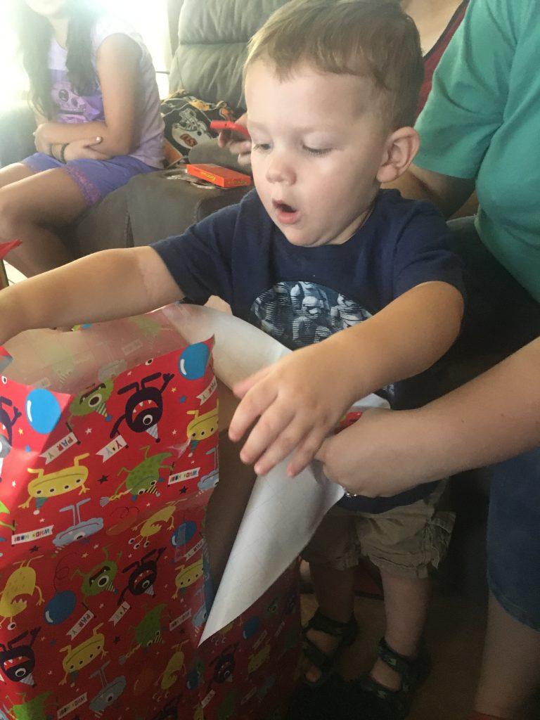 Grandson opening gift ~ Lifeofjoy.me