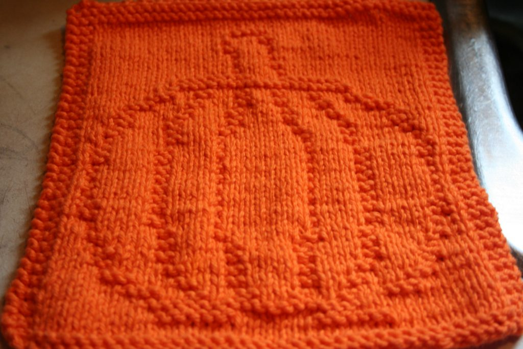 Knitted Pumpkin Dishcloth ~ Lifeofjoy.me