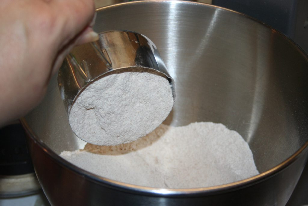 Sprouted spelt flour in mixer ~ Lifeofjoy.me