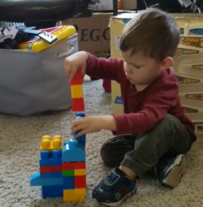 Toddler playing with mega blocks ~ Lifeofjoy.me