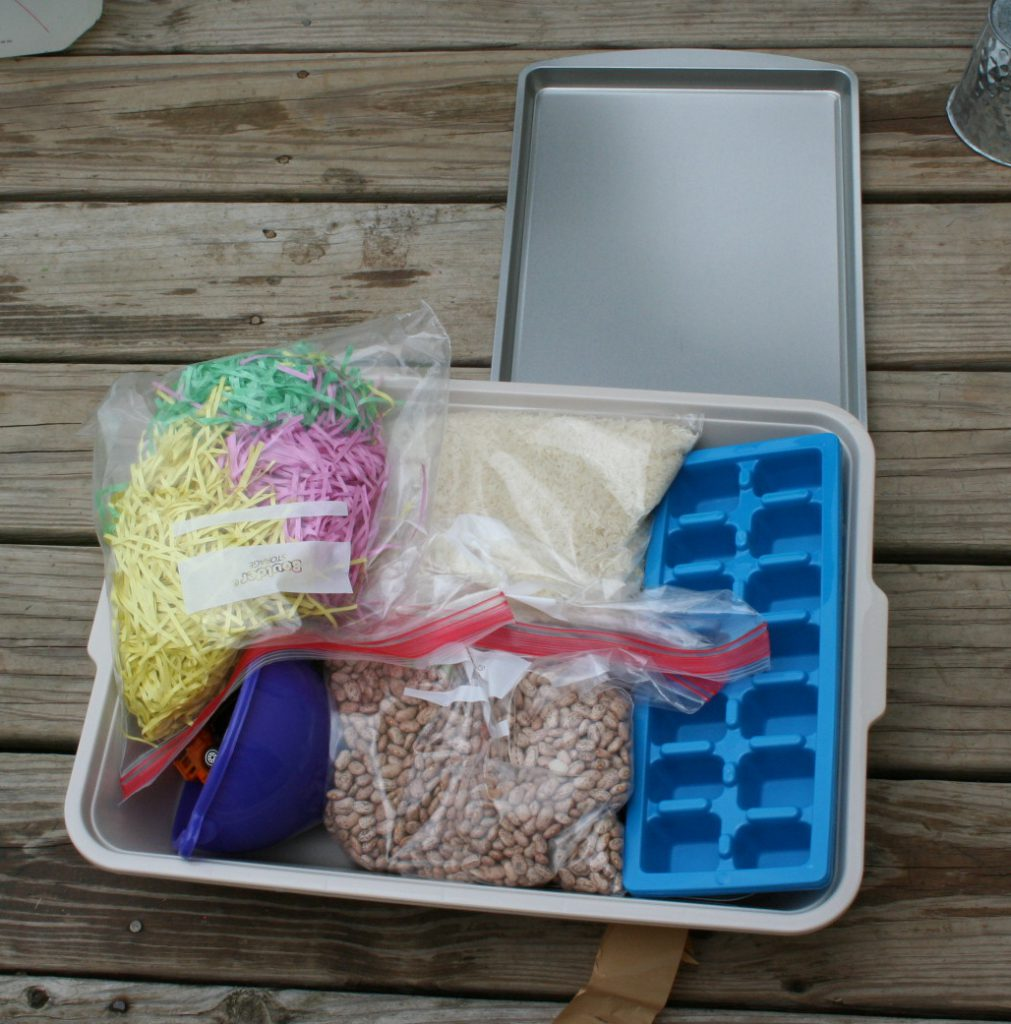 Opened up sensory bin ~ Lifeofjoy.me
