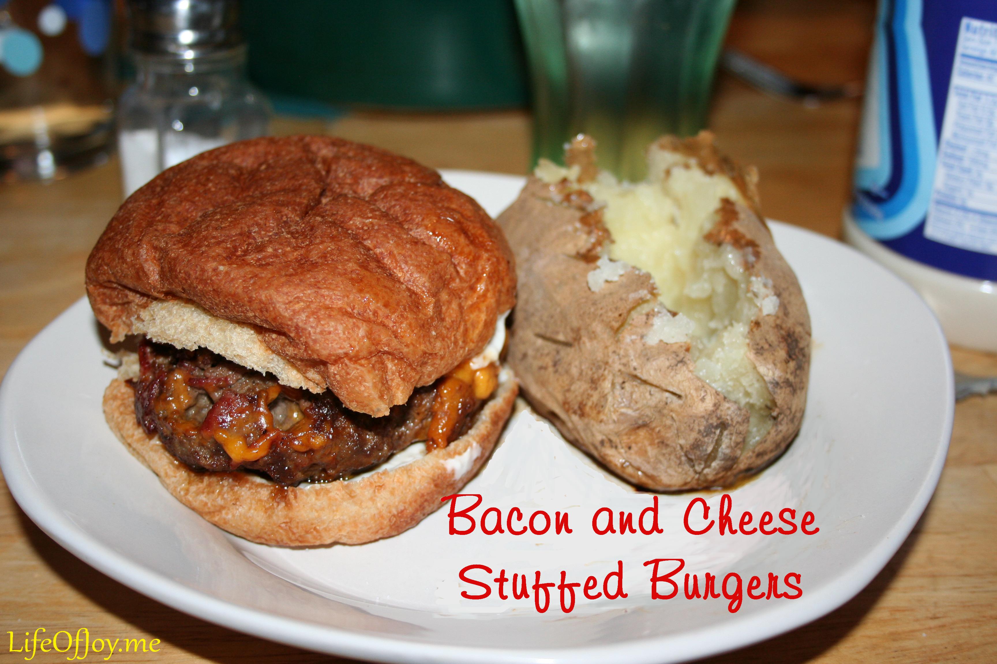 Bacon and Cheese Stuffed Burgers ~ LifeOfJoy.me