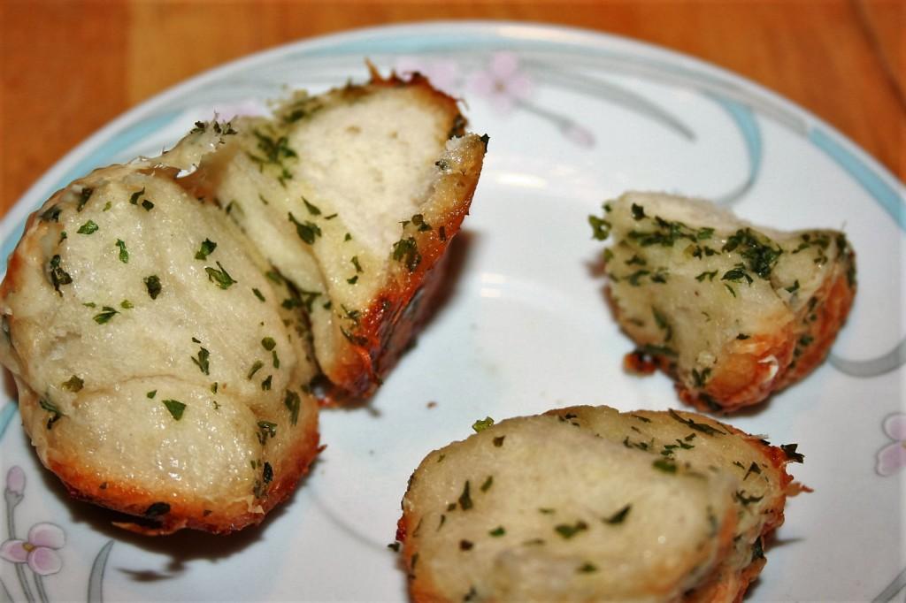Individual Garlic Muffin Pulled Apart ~ Lifeofjoy.me