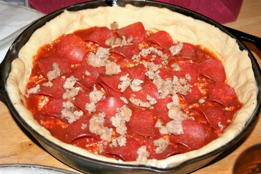 Sausage added to pizza ~ lifeofjoy.me