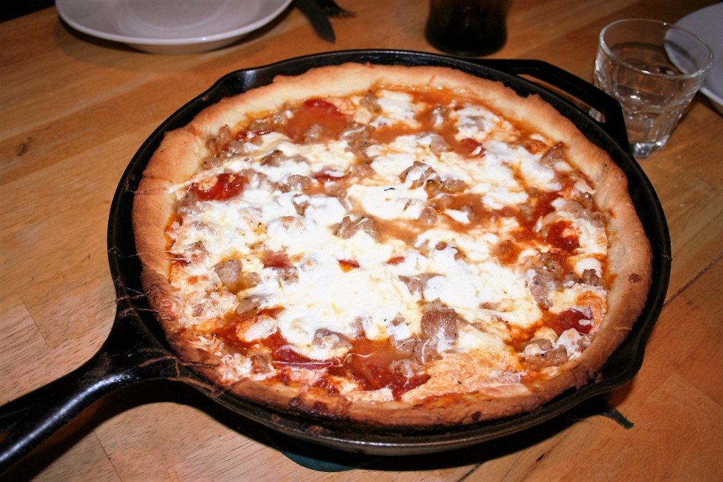 Deep dish pan pizza out of the oven, ready to eat. ~ Lifeofjoy.me