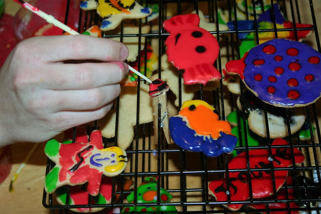 Fish and Bait from ornament cookie ~ Lifeofjoy.me