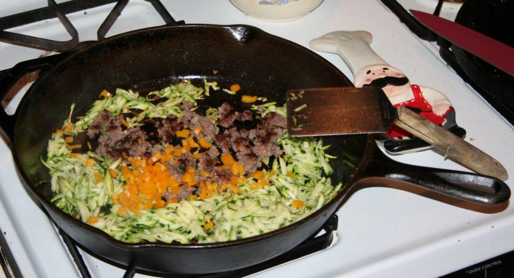 Cooking vegetables and sausage ~ Lifeofjoy.me