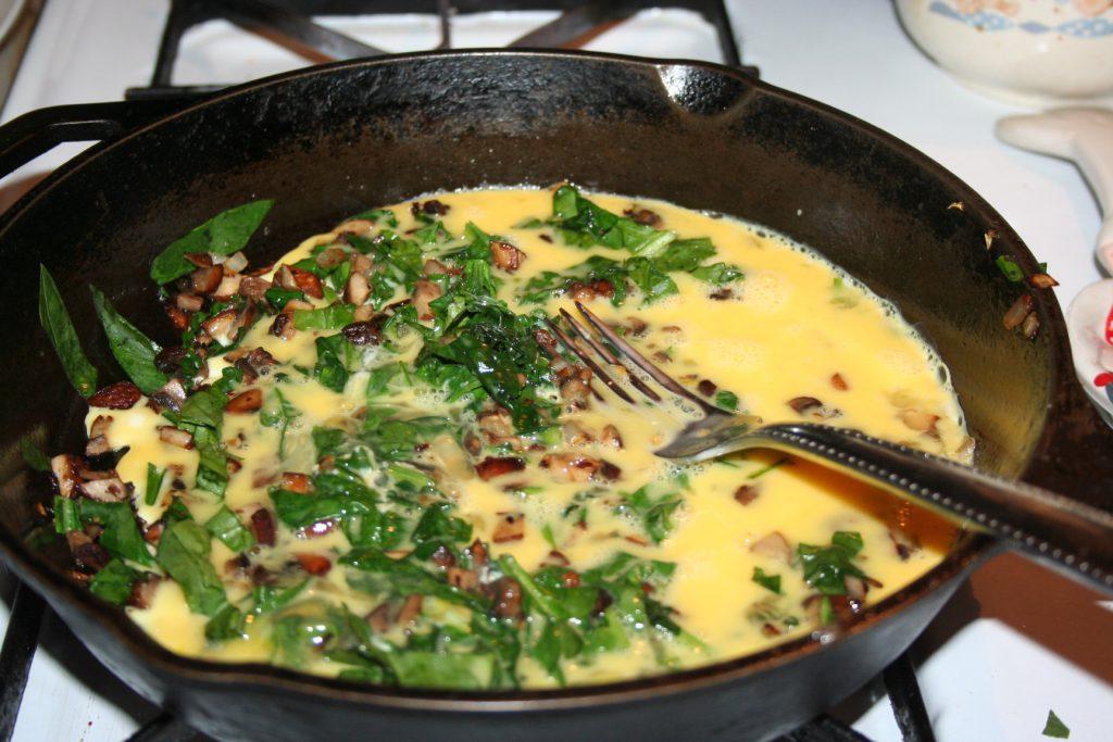 Added beaten eggs to sautéd veggies ~ Lifeofjoy.me